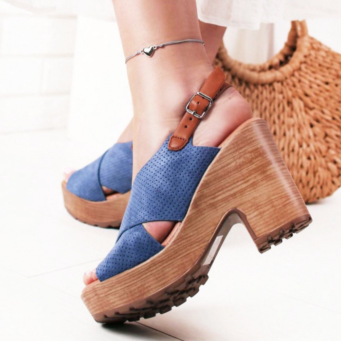 Sandale albastre cu platforma Annabel