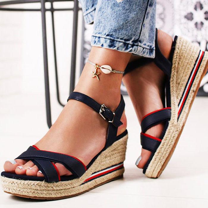 Sandale albastre cu platforma Clarissa