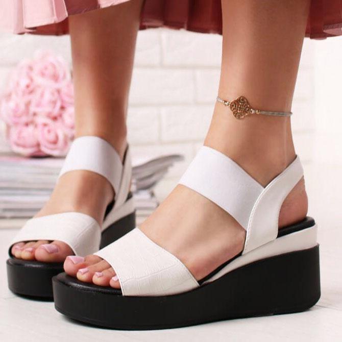 Sandale albe cu platforma Beth
