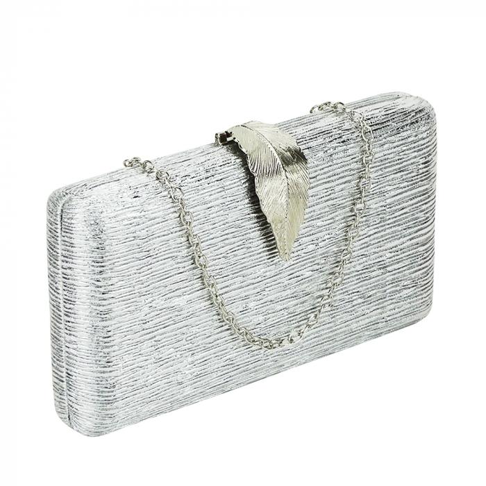 Geanta clutch argintie Nicole