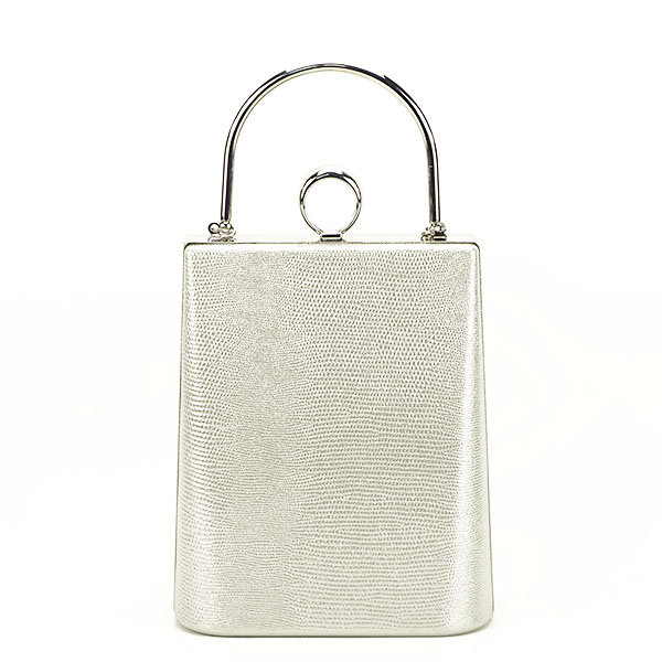 Geanta clutch argintiu cu imprimeu Noemi