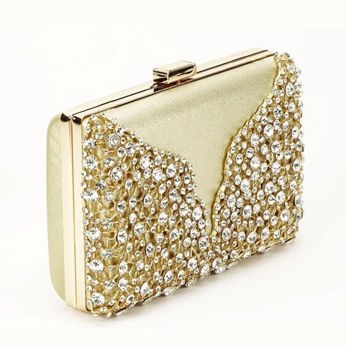 Geanta clutch auriu cu cristale Corina