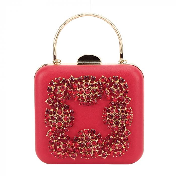 Geanta clutch rosu Ingrid