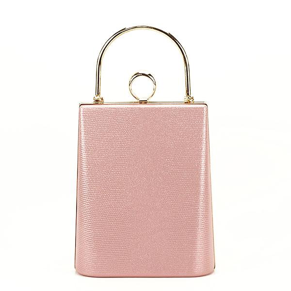 Geanta clutch roz cu imprimeu Noemi