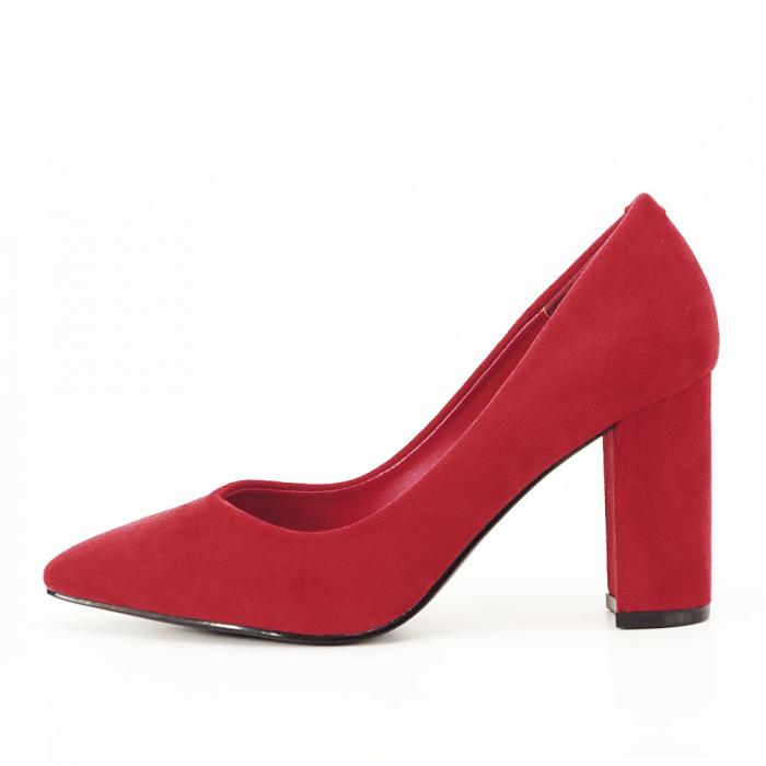 Pantofi rosii cu toc gros Anina