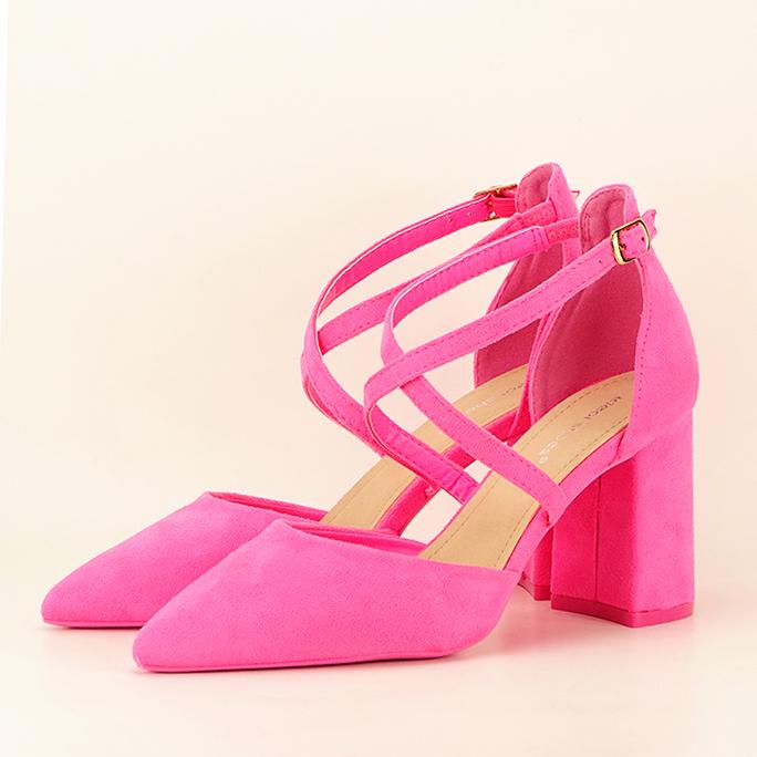 Pantofi roz neon cu toc gros Amira